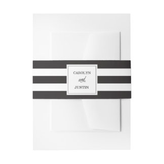 Bold Stripe Wedding Belly Band Invitation Belly Band