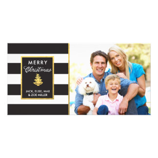 Bold Stripes and Gold Tree Christmas Card Customised Photo Card