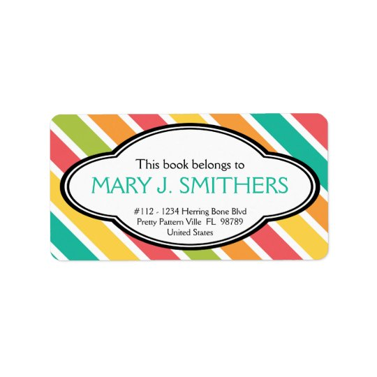 Bold Stripes Colourful Ladies Bookplate Address Label