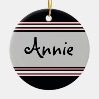 Bold Stripes Double-Sided Ceramic Round Christmas Ornament