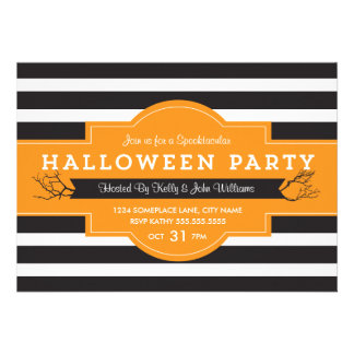 Bold Stripes Halloween Party Invite