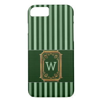 Bold Stripes in Green Hues with Monogram iPhone 8/7 Case