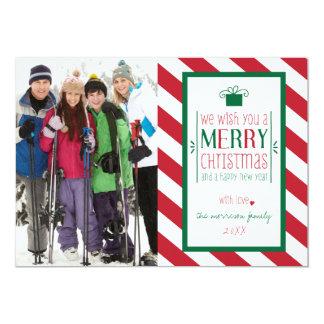 Bold Stripes Merry Christmas Photo Flat Card Custom Invitations