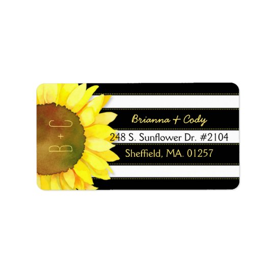 Bold Stripes n Watercolor Sunflower Wedding Address Label
