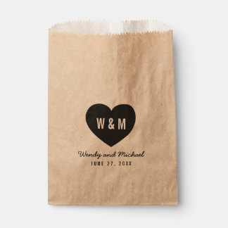 Bold Stylish Monogram Heart Rustic Wedding Favour Bags