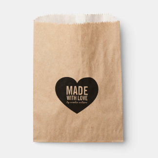 Bold Stylish Rustic Made with Love Heart Favour Bags