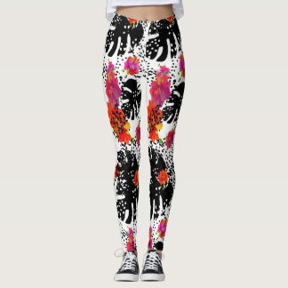 Bold Stylish Watercolor Floral  Monstera Leaf Leggings