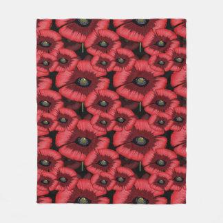 Bold Stylized Poppy Pattern Fleece Blanket