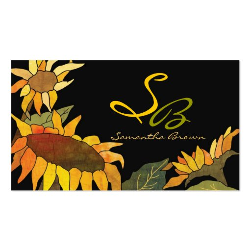 Bold Sunflowers Monogram Business Cards