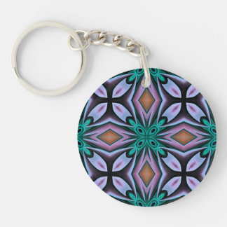 Bold Teal and Purple Floral Pattern Keychains