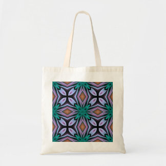 Bold Teal and Purple Floral Tile Pattern Budget Tote Bag