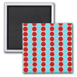 Bold Teal Blue and Red Hexagon Tile Pattern Gifts. Square Magnet