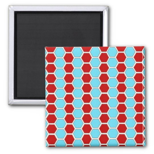 Bold Teal Blue and Red Hexagon Tile Pattern