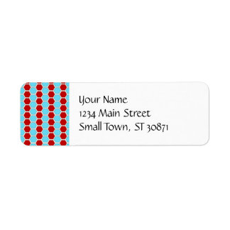Bold Teal Blue and Red Hexagon Tile Pattern Gifts Return Address Label