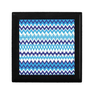 Bold Teal Turquoise Blue Tribal Chevron Pattern Trinket Boxes