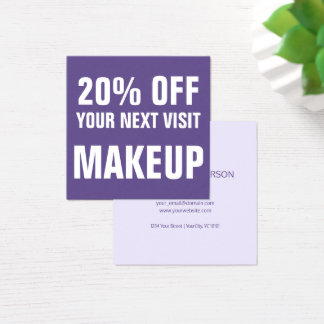 Bold Text Ultra Violet Makeup Discount Coupon Square Business Card