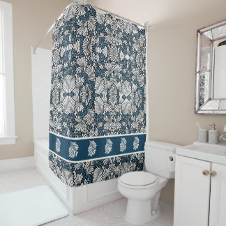 Bold Tropical Elegance in Blue and White Shower Curtain