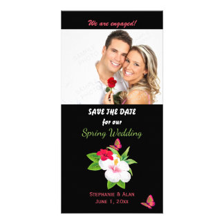 Bold Tropical Hibiscus Butterfly Save The Date Card