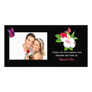 Bold Tropical Hibiscus Butterfly Wedding Photo Card