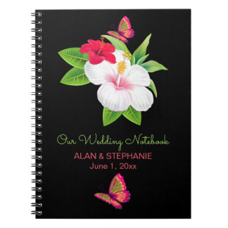 Bold Tropical Hibiscus Butterfly Wedding Spiral Notebook