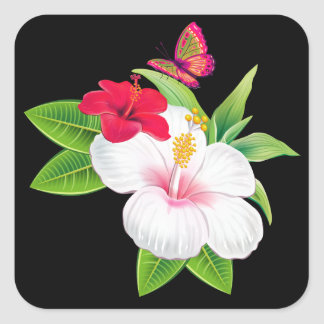Bold Tropical Hibiscus Butterfly Wedding Stickers