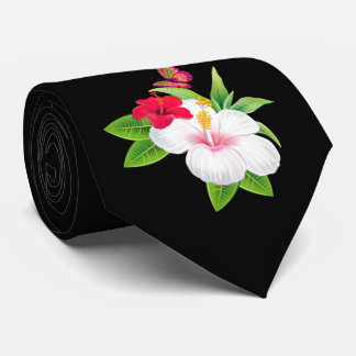 Bold Tropical Hibiscus Butterfly Wedding Tie