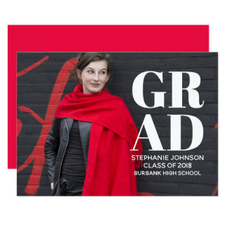 Bold Typography Photo Graduation Invite | White