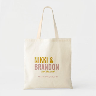 Bold Typography Wedding Announcement Welcome Favor Budget Tote Bag