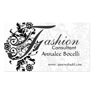 Bold Unique  Black  Lace Monogram Pack Of Standard Business Cards