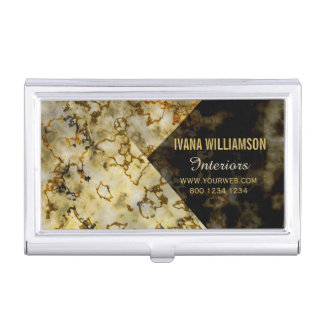 Bold  Upscale Luxurious Marbleized Cracked Gold Business Card Cases
