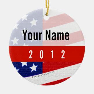 Bold USA Theme, Custom Personalized Design Round Ceramic Decoration