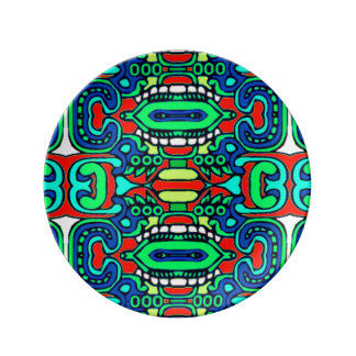 Bold vibrant tribal abstract porcelain plate