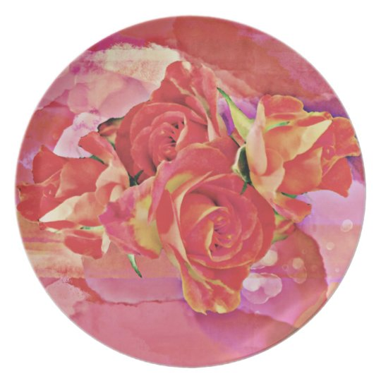 Bold vibrant watercolor roses in pink and orange plate