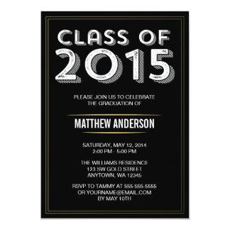 Bold Vintage Black Gold 2015 Graduation 5x7 Paper Invitation Card