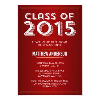 Bold Vintage Red Gold 2015 Graduation 5x7 Paper Invitation Card