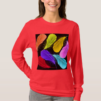 Bold Vivid Wild Colored Feathers On Black T-Shirt