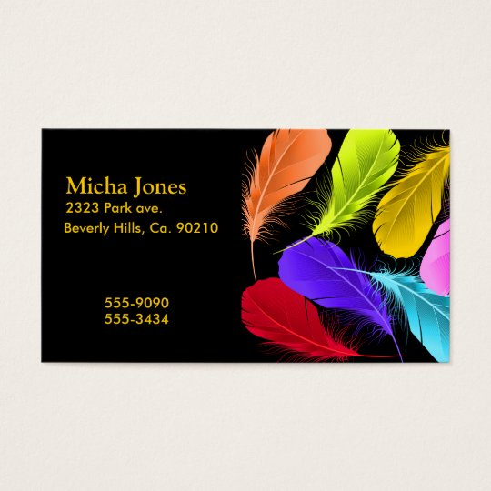 Bold Vivid Wild Coloured Feathers On Black Business Card