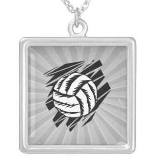 bold volleyball graphic square pendant necklace