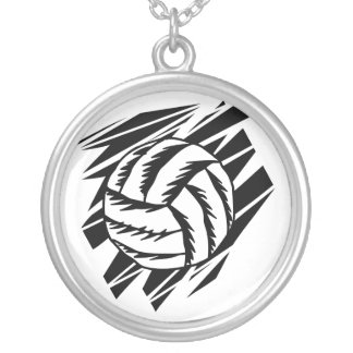 bold volleyball graphic round pendant necklace