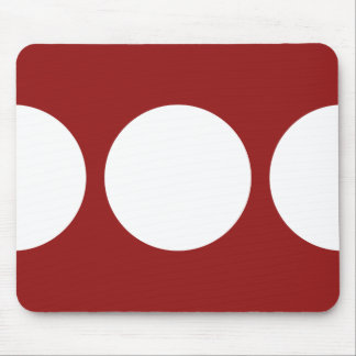 Bold White Circles on Red Mousepad