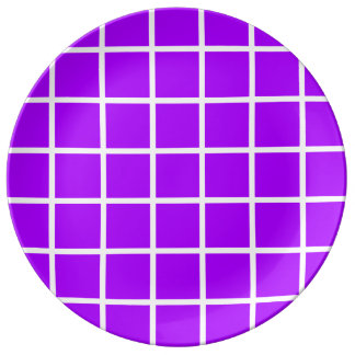 Bold White Lattice Stripes on Summer Grape Plate