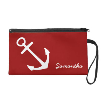 Bold White on Red Nautical Anchor Wristlets