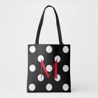 Bold White Polka Dots on Black With Red Monogram Tote Bag