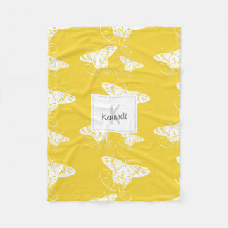 Bold White Simple Butterflies on Bright Yellow Fleece Blanket