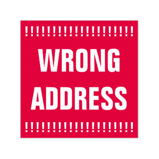 """Bold """"WRONG ADDRESS"""" Self-Inking Rubber Stamp"""