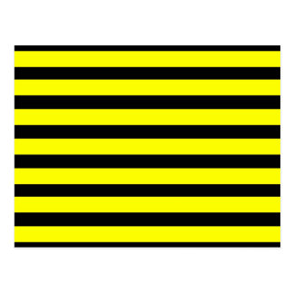 Bold Yellow and Black Bumble Bee Striped Pattern Postcard