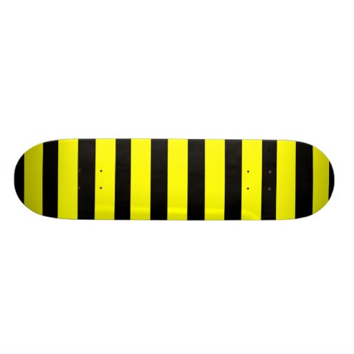 Bold Yellow and Black Bumble Bee Striped Pattern Skate Deck