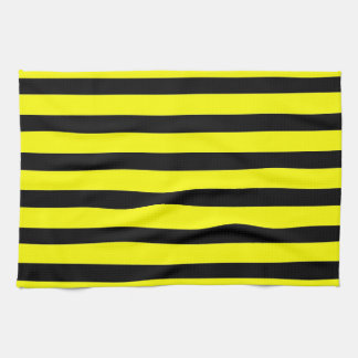 Bold Yellow and Black Bumble Bee Striped Pattern Tea Towel