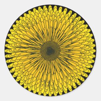 Bold Yellow Dandelion Round Sticker