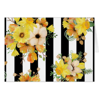 Bold Yellow Floral on Stripes Card